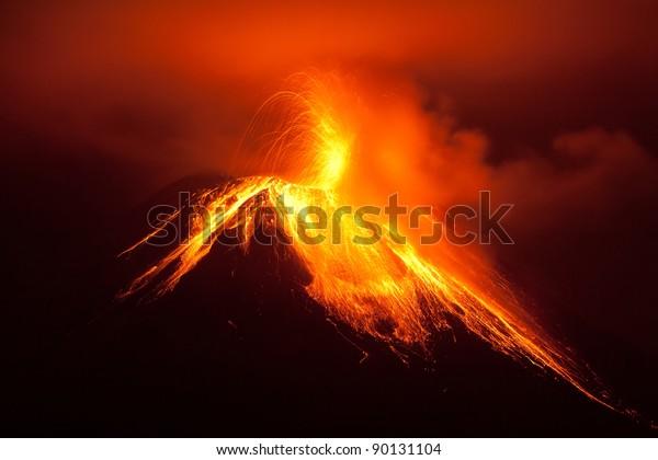 volcano erupting lava volcan landscape tungurahua explosion ecuador active magma south tungurahua volcanoe exploding in the nocturnal of 30 11 2011 ecuador shot with canon eos 5d marker ii converted f
