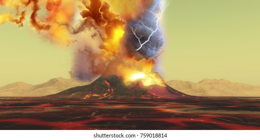 Volcano Eruption 3d illustration - A volcano erupts with a burst of smoke, fire and ash as the landscape becomes rivers of molten lava.
