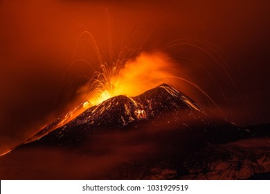 Volcano eruption landscape at night - Mount Etna in Sicily