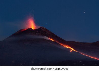 Volcano Eruption. Mount Etna eruption