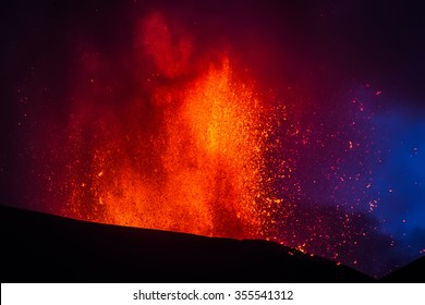 Volcano eruption. Mount Etna erupting from the crater Voragine