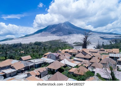 Volcano Eruption, Mount Sinabung Disaster in North Sumatera, Indonesia