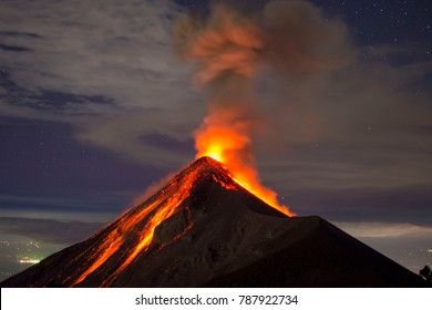 Volcano eruption at night - Volcano Fuego in Antigua, Guatemala