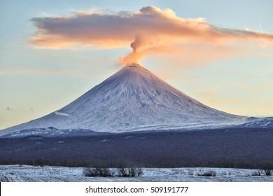 Volcano eruption. Russia,Kamchatka Peninsula. 03.11.2016. The volcano of Klyuchevskaya sopka. (4800 m) is the highest active volcano of Eurasia.