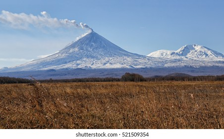 Volcano eruption. Russia,Kamchatka Peninsula. The volcano of Klyuchevskaya sopka. (4800 m) is the highest active volcano of Eurasia.