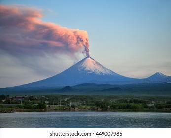 Volcano eruption. Russia,Kamchatka Peninsula. Village Klyuchi. 06.07.2016.The volcano of Klyuchevskaya sopka. (4800 m) is the highest active volcano of Eurasia.