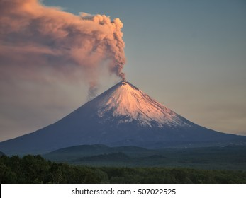 Volcano eruption. Russia,Kamchatka Peninsula. Village Klyuchi. 06.07.2016.