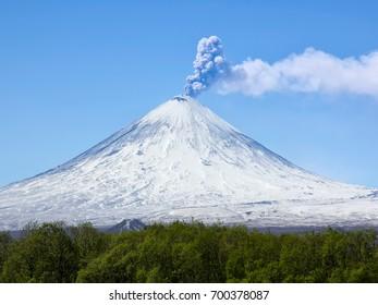 Volcano eruption. Russia,Kamchatka Peninsula.10.06.2017.The volcano of Klyuchevskaya sopka. (4800 m) is the highest active volcano of Eurasia.