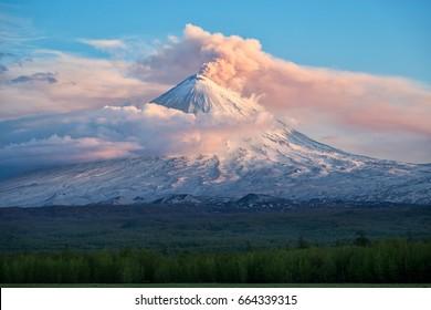 Volcano eruption. Russia,Kamchatka Peninsula.12.06.2017.The volcano of Klyuchevskaya sopka. (4800 m) is the highest active volcano of Eurasia.