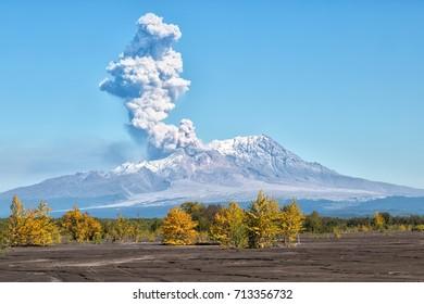 Volcano eruption.09.09.2017.Russia, Kamchatka, Kamchatka Mountain. Shiveluch Volcano.(3307m) Active Volcano Of Kamchatka Peninsula.