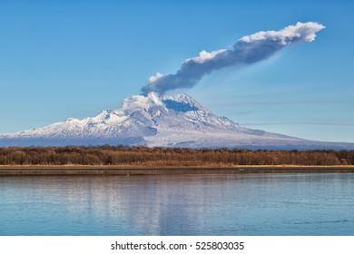 Volcano eruption.Russia, Kamchatka, Kamchatka Mountain. Shiveluch Volcano.(3307m) Active Volcano Of Kamchatka Peninsula.