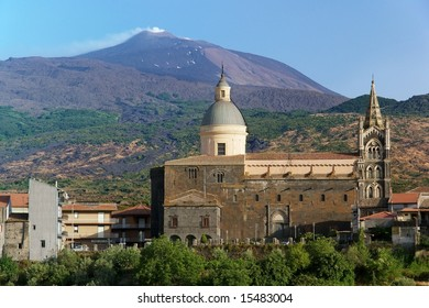 Volcano Etna and cathedral in Randazzo, Sicily