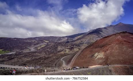 Volcano Etna one month after big erruption in 2017