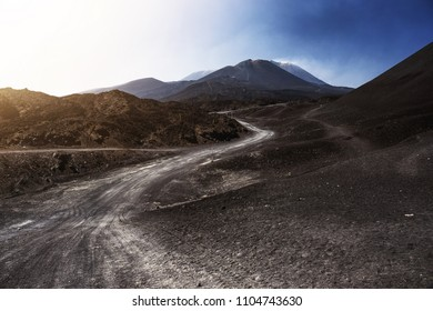 The volcano of Etna, Sicily, Italy. Road to the top of  Etna. Dramatic view.