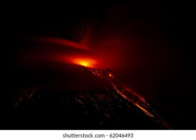 Volcano with glowing Lava