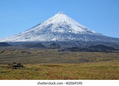 The volcano of Klyuchevskaya Hill (4800 m) is the highest active volcano of Eurasia.