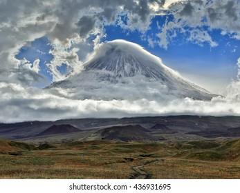 The volcano of Klyuchevskaya Hill (4800 m) is the highest active volcano of Eurasia. Russia, Kamchatka, Kamchatka Mountain.