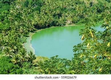 The volcano lake of Dziani on Mayotte island,France