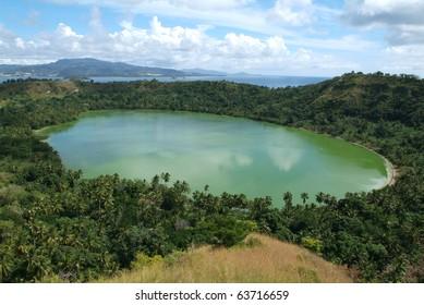 The volcano lake of Dziani on Mayotte island