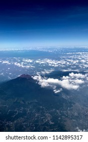 Volcano and landscape aerial bird view