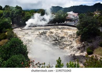 Volcano Landscape Caldera Hot Springs Fumaroles in Furnas, Sao Miguel, Azores, Portugal