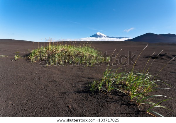 Volcano landscape with sky on Kamchatka, Russia.
