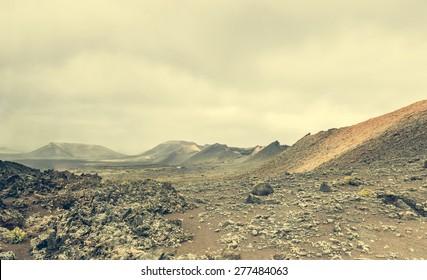 volcano and lava desert. Lanzarote, Canary islands