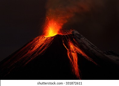 volcano lava volcan erupting fire ecuador small volcanology dark landscape mountains tungurahua volcano exploding in the night of 28 11 2011 ecuador shot with canon eos mark iv converted from raw smal
