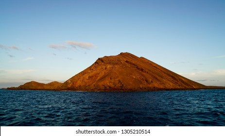 The volcano of Lobos Island at sunset in Fuerteventura in the Canary Islands