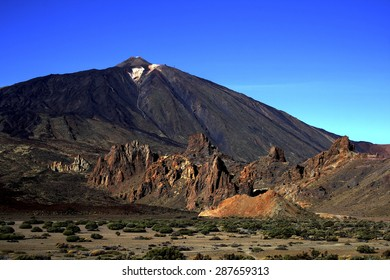 the volcano of Mount Teide in Tenerife, Spain, the old peak, seen another crater, lava flows r the Canadas del Teide, Roques, García, the Plain of Ucanca, column, famuos, formation, hill, relaxation,
