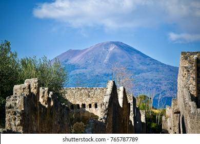 Volcano mount vesuvius pompeii Naples Italy