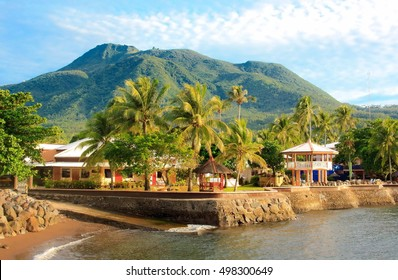 Volcano of mountain tropical island and resort. Philippine paradise. Camiguin
