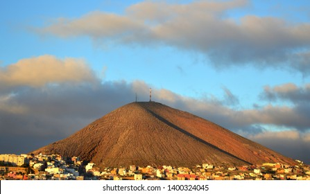 volcano next to town of galdar. gran canaria