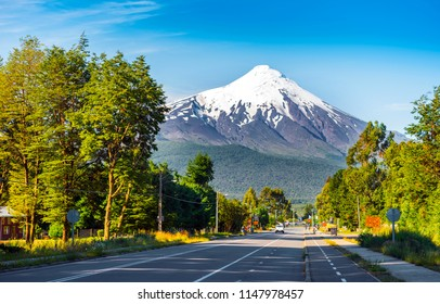 Volcano Osorno in national park Vicente Perez Rosales, Chile. Copy space for text