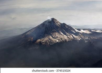 Volcano Popocatepetl, Mexico. View from plain.Active volcano Popocatepetl, 5426 m, the second highest mountain of Mexico.