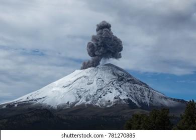 Volcano Popocatepl erupting