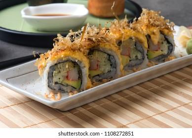 volcano roll japanese sushi