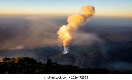 Volcano Santiaguito erupts in Guatemala.
