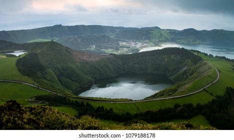 Volcano Shaped Lake at Azores.