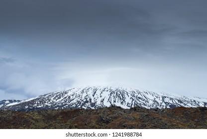 The Snaefellsjökull volcano shot from Londrangar