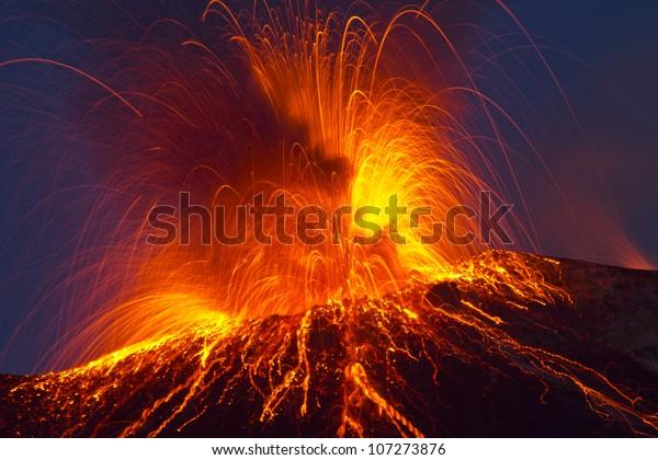 Volcano stromboli with spectacular eruptions