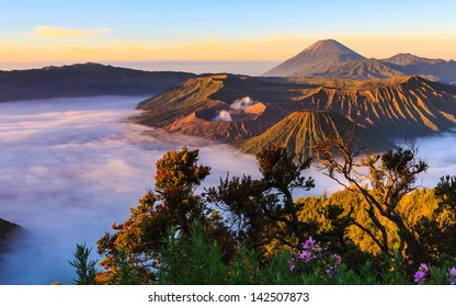 the volcano in sunrise have good light