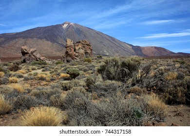 Volcano Teide and lava scenery in Teide National Park, Tenerife, Canary Islands, Spain