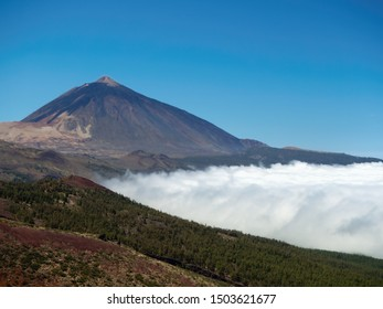 "The volcano Teide with the white desert on the left side and a dense white sea of clouds underneath. In front there are pine forests and the ""canadas roja"" with dark red soil. Over blue summer sky."
