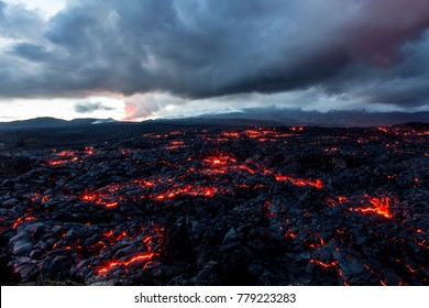 Volcano Tolbachik. Lava fields. Russia, Kamchatka, the end of the eruption of the volcano Tolbachik, August 2013.