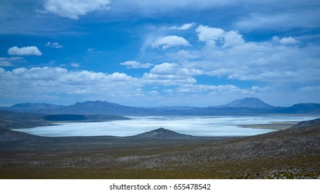 Volcano Ubinas , mountain in the Andes, Salt flats