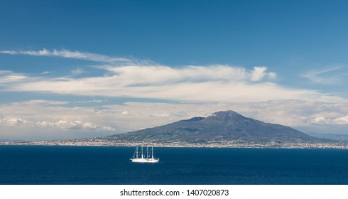 The volcano Vesuvius and the Gulf of Naples as seen from Sorrento,  Southern Italy