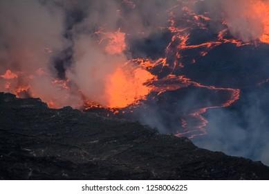 Volcano Yiragongo with fire