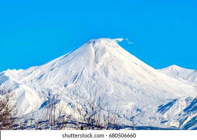 Volcanoes in the east of Russia on the Kamchatka Peninsula in the territory of the Kamchatka Territory form part of the Pacific Ring of Fire. Avachinsky volcano.