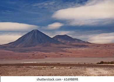 volcanoes Licancabur and Juriques, Atacama desert in Chile, view from San Pedro de Atacama